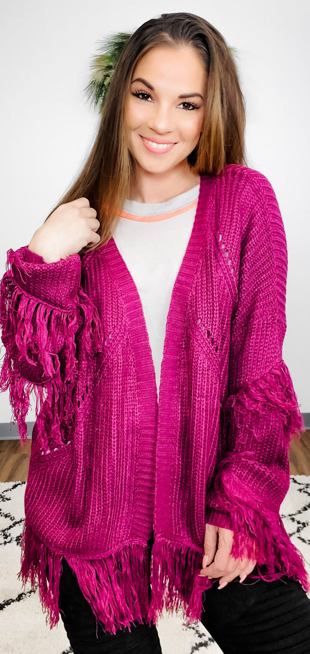 Open Knit Fringe Detail Cardigan