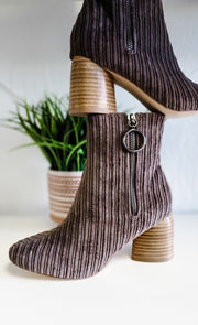 Taupe Corduroy Boots with Zipper