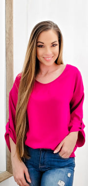 V-Neck Long Sleeve Solid Woven Top