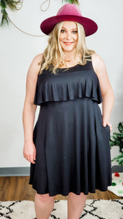 Ruffled Cold Shoulder Dress (S-3XL)