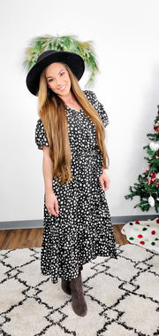 Easel - GO GO DOT WRAP DRESS