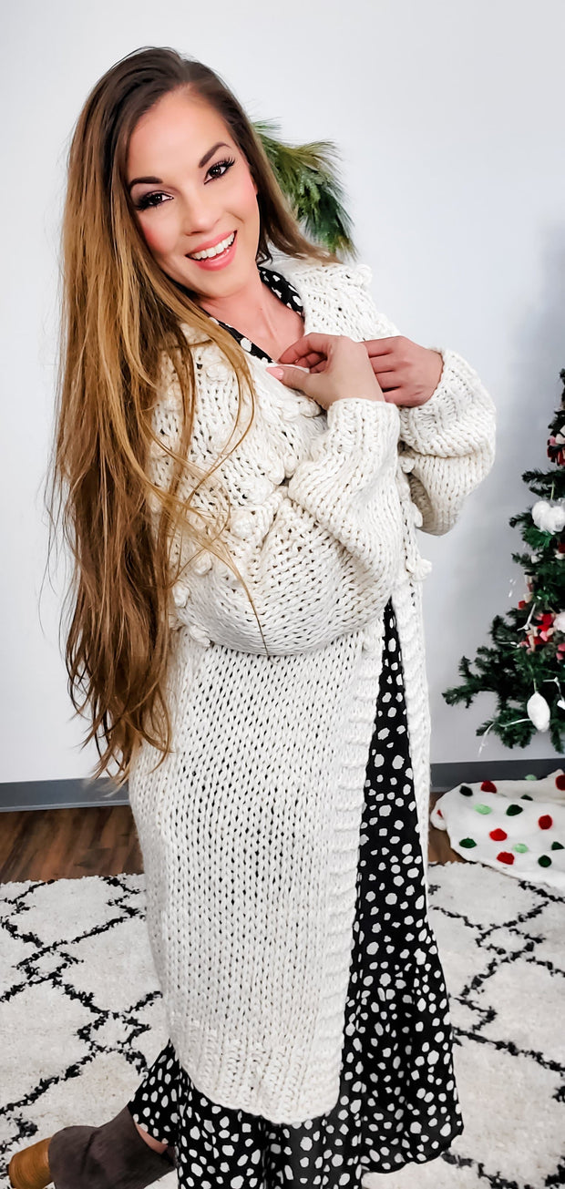 Open-Front Short Cardigan with Pom-Pom Detailed Sleeves