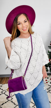 Pol - Scallop Pattern Velvet Chenille Sweater