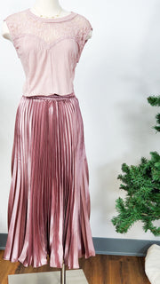 Easel - Solid Pleated Satin Maxi Skirt