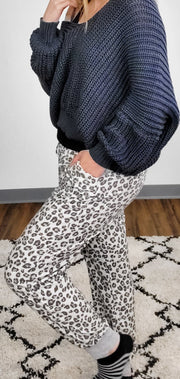 Leopard French Terry Rib Contrast Pants (S-3XL)