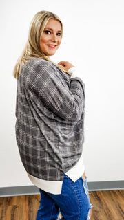 Long Sleeve Top with Plaid Detail (S-3XL)