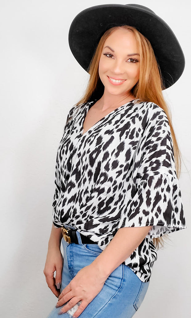 Animal Print Sleeve V-Neck Top with Gathered Front Detail
