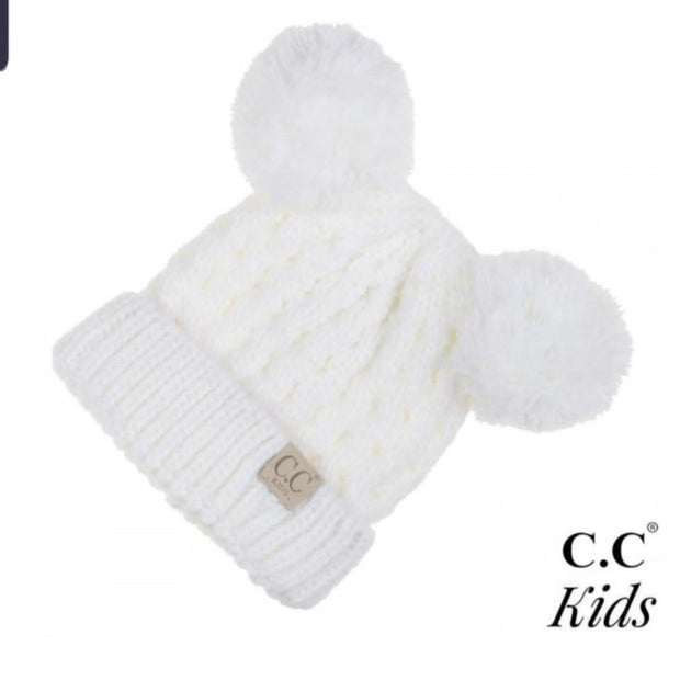 Solid Color Double Pom Beanie for Kids