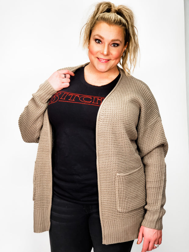 Waffle Knit Doorbuster Cardigan Sweater (S-3XL)