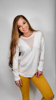 Boho Long Sleeve Gauze Knit Top