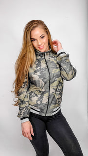 Camouflage Print Soft Knit Bomber Jacket with Pockets