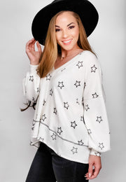Star Print Brushed Hacci Long Sleeve Tunic Top