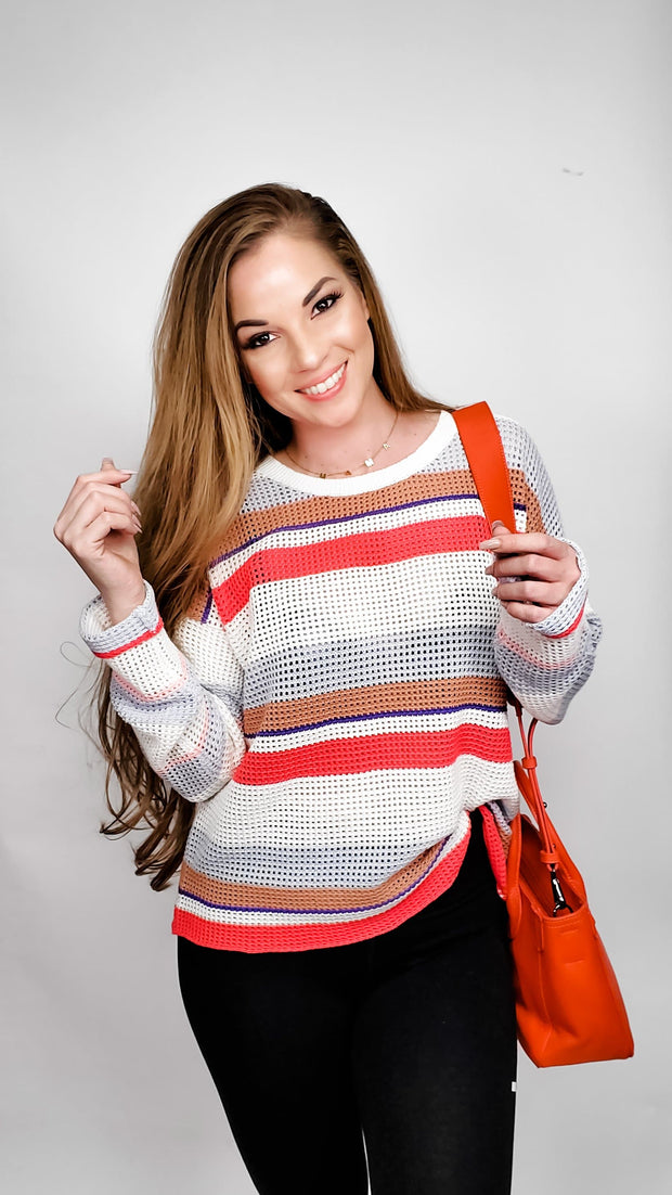 Multi Color Stripe Drop Sleeve Sweater