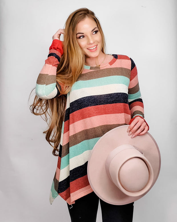 Loose Fit Long Sleeved Striped Sweater