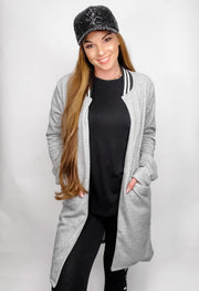 Stripe Detailed Fleece Coat