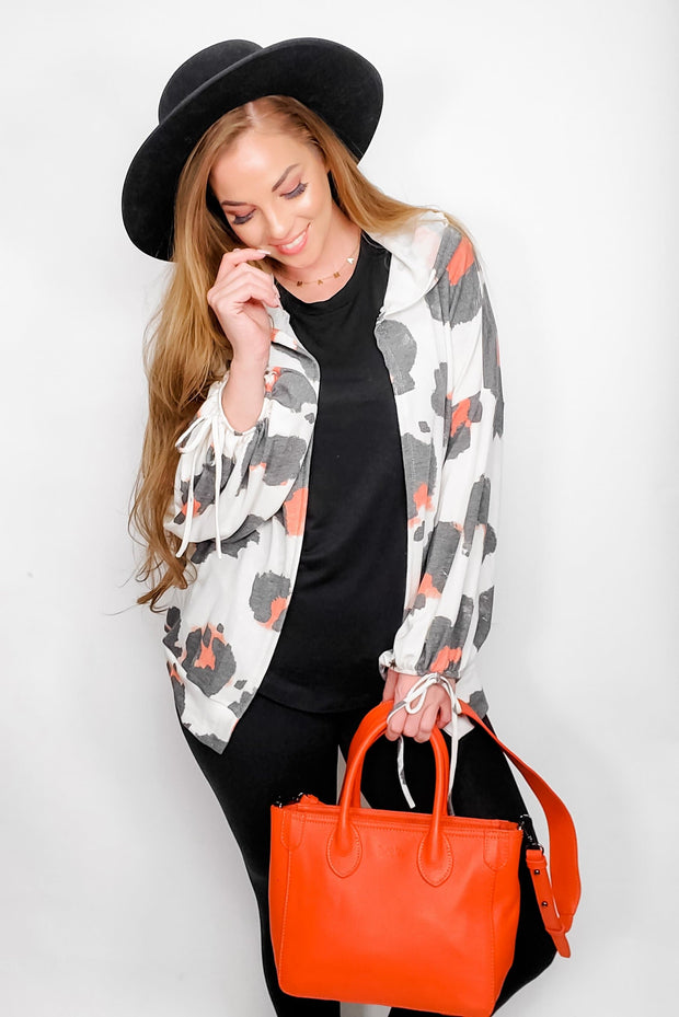 Maxi Animal Jacket with Hoodie and Drawstring Leaves