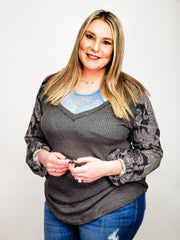 Plus Size Paisely Contrast Tunic