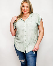 Washed Button Up Short Sleeve Top with Frayed Hemline (S-2XL)