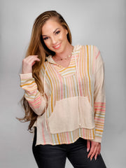 Multi Color Stripe Hoodie Sweater with Front Pocket