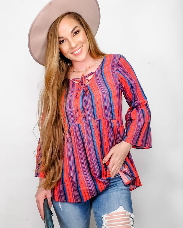 Multi Stripe Lace-Up Top