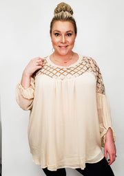 Plus Size Sheer Sequin Peasant Top