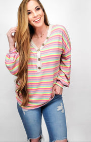 Happy Stripes V-Neck Top