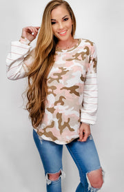 Camo & Stripe Knit Top