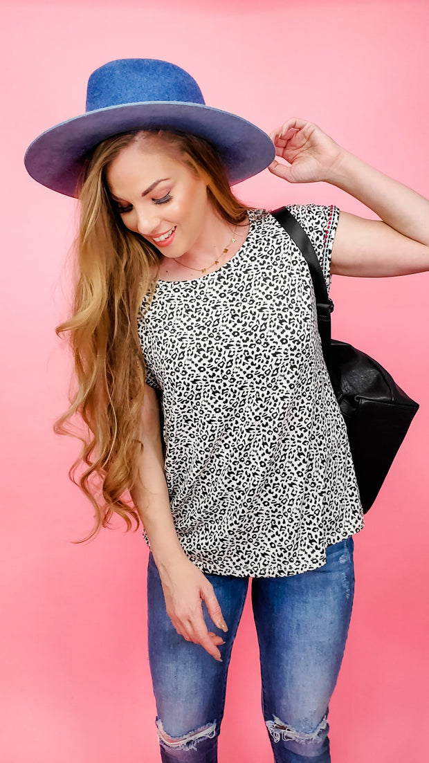 Animal Printed Boat Neck Boxy Top