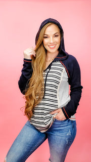 Lace Insert Stripe V-Neck Hoodie Sweater