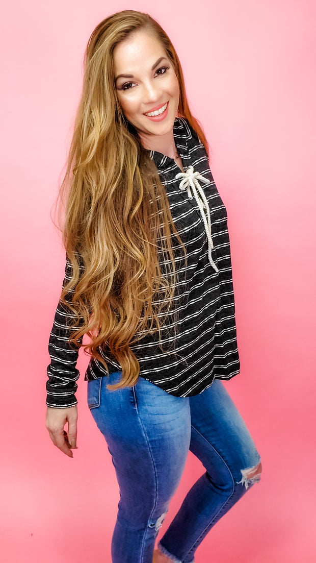 Textured Slub Stripe Lace Up Hoodie Pullover Sweater