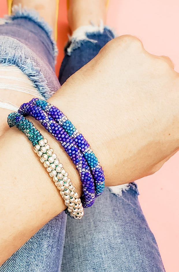 A Through Trade - Agave Statement Roll-On Bracelets - BLUE