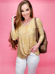 Yellow Leopard Brushed Top (S-3XL)