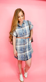 Easel - WASHED DENIM BUTTON DOWN SHIRT DRESS