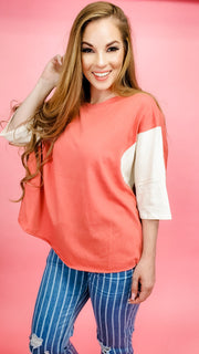 Easel - Half Sleeves Color Block Boxy Top