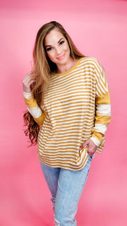 Easel - Striped Long Sleeve Layer Tunic Top