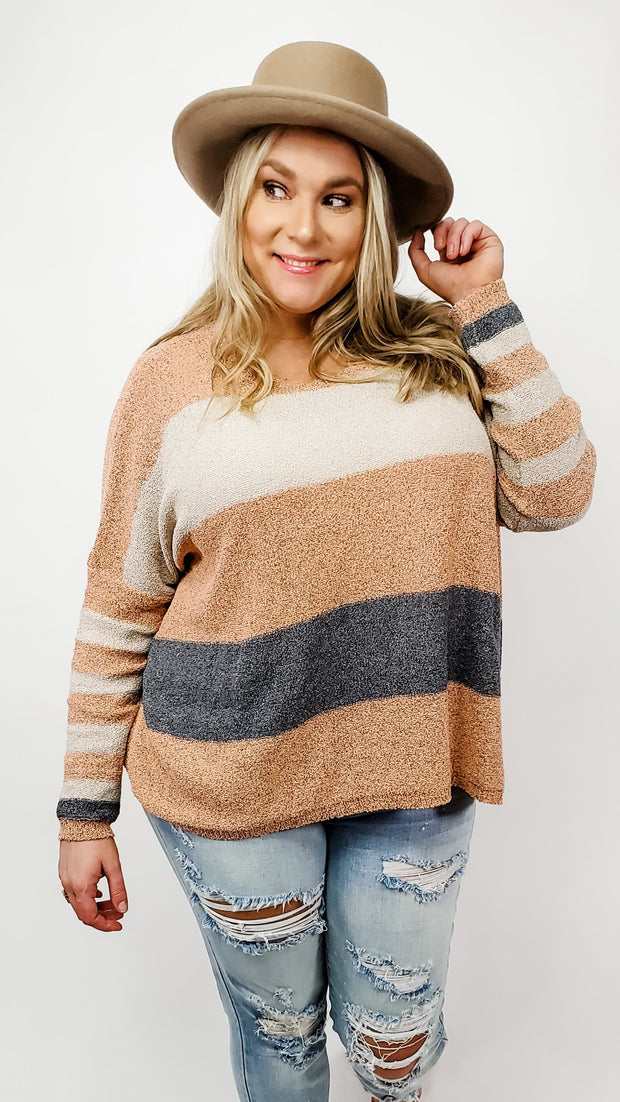 Easel - Long Sleeve Color Block Knit Sweater (S-3XL)