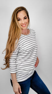 Striped Round Neck Top Featuring Ruched Detail at Back