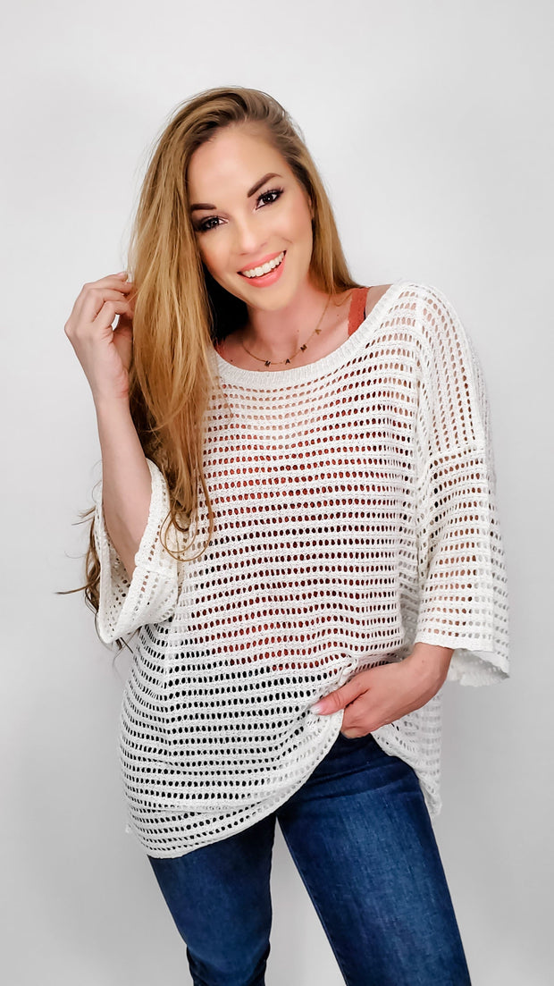 Easel - Effortless Slouchy Semi Sheer Sweater Boxy Tunic