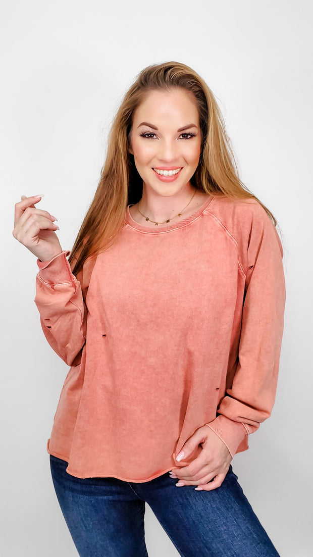 Easel - Vintage/Distressed Long Sleeve Top