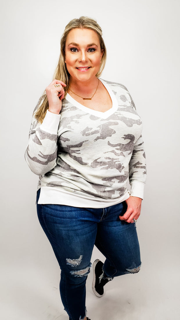Camo Long Sleeve V-Neck Top (S-3XL)