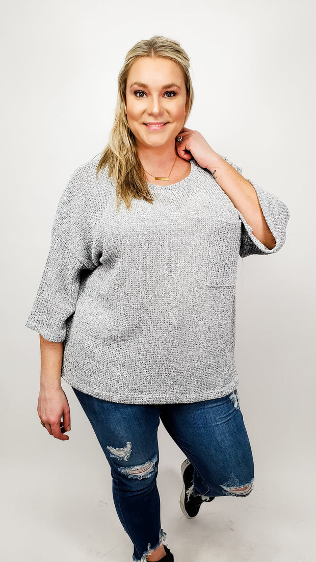Solid Scoop Neck Top Featuring Pocket Detail at Bust (XL-3XL)