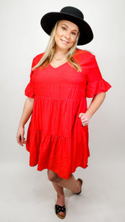 Solid Ruffle Tiered V-Neck Dress Featuring Flounce Sleeve Detail (XL-2XL)