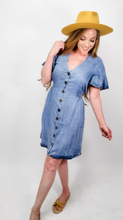 Easel - Chambray Washed Denim Dress