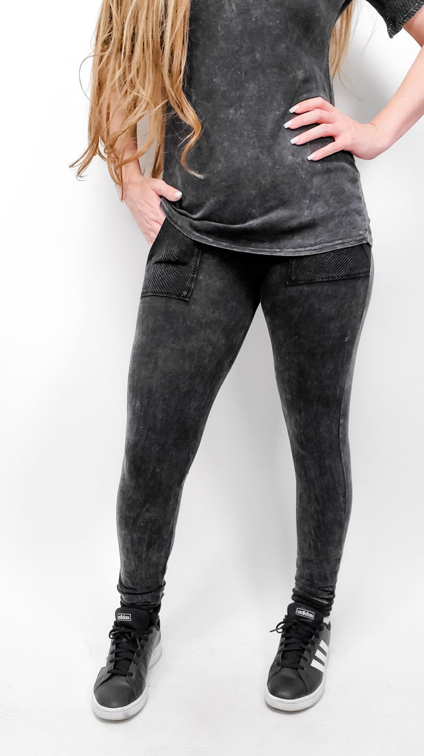 Mineral Wash Ribbed Contrast Leggings