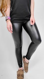 Doorbuster - Faux Leather Leggings with Waist Band
