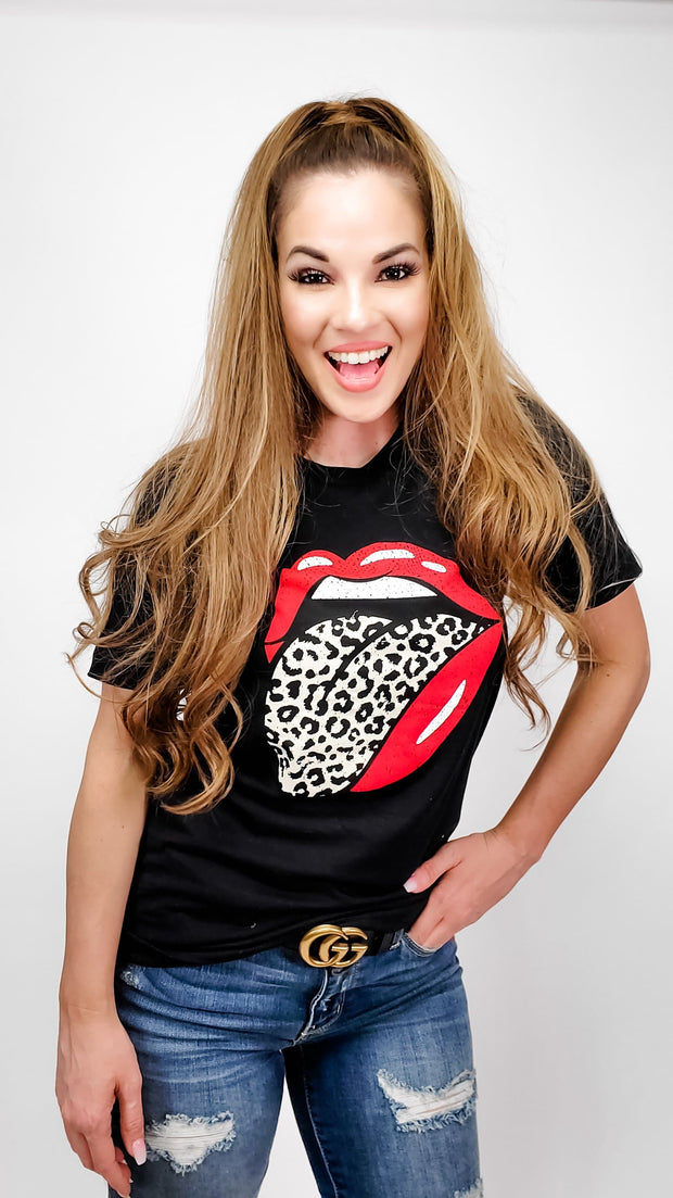 Leopard Lips Graphic Top