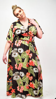 Long Short Sleeve Floral V-Neck Dress with Tie Detail at Waist (S-2XL)