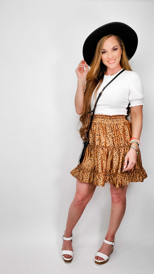 Satin Tiered Mini Skirt (S-3XL)