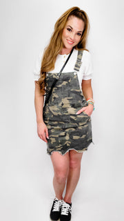 Camouflage Printed Overall Mini Dress