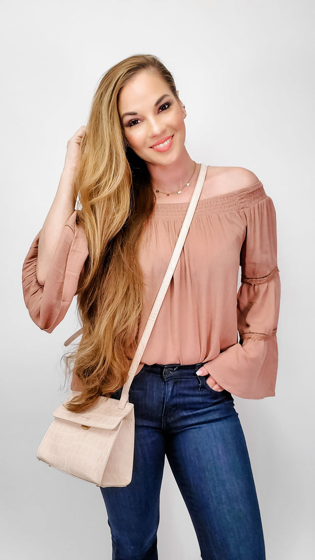Off Shoulder with Bell Sleeve Lace Detail Top